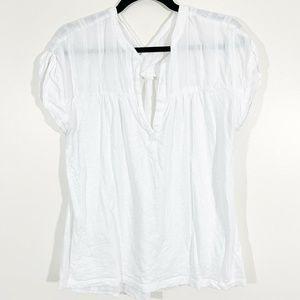 Lou&Grey White Short Sleeved V-Neck Popover Blouse